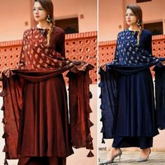 Luxuries New Style Festive Wear 2018  Product Info :  Frock style with wide plazo💃 Colors 🎨🎨🎨 - 👑 4 Black Maroon Army Green Neavy  Fabric Details:👘 Top❤ full stich📣 Pure organic heavy rayon TOP- Stich  Size XL-XXL Plazo❤ full stich📣 Duppata Digital print butter material  With tassels  Price : 1700 INR To buy WhatsApp @ +91 9054562754 New Frock, Indian Fashion Trends, Indian Ethnic Wear, Bridesmaid Dresses, Wedding Dresses, Festival Wear, Army Green, Frocks, Pure Products