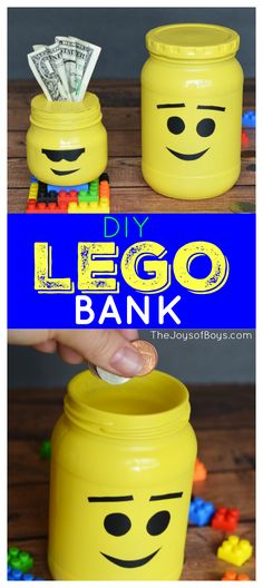 "fun is this LEGO Bank? If your kids love saving their money or ""treasures"" these would be perfect!How fun is this LEGO Bank? If your kids love saving their money or ""treasures"" these would be perfect! Lego Projects, Projects For Kids, Legos, Diy Crafts For Kids, Fun Crafts, Craft Ideas, Diy Niños Manualidades, Lego Club, Lego Activities"