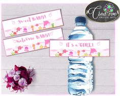 Baby shower girl WATER BOTTLE LABELS printable under the sea pink theme, digital files Pdf Jpg, instant download - uts01 #babyshowerparty #babyshowerinvites