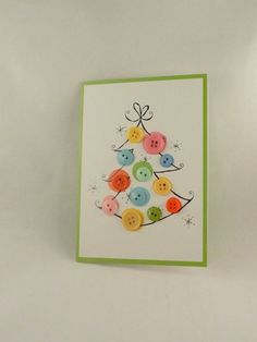 Christmas Card, ON SALE, buy one get one free,   Altered Art, Embellished, Christmas Tree with buttons