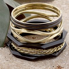 Set of 7 Brass and Wood Black and Gold Skies Bangle Bracelets (India)