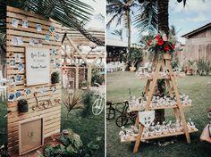 Decoração com fotos e bem casados para Casamento ao ar livre boho
