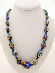 Vintage Murano Millefiori Venetian Glass Graduated Egg Bead on Chain Necklace