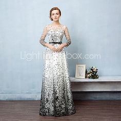 Formal Evening Dress Ball Gown Jewel Floor-length Lace / Tulle with Sash / Ribbon 2017 - $98.99