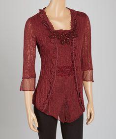 Loving this Dark Red Embroidered Linen-Blend Top on #zulily! #zulilyfinds