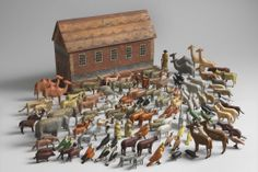 "Fine Noah's Ark Toy Collection With Exceptional Painted Ark and Original Animals, Carved and Painted Wood German, Erzgebirge Region, c.1875, 13 ½"" high x 23"" wide x 6"" deep. (British and European Folk Art at Robert Young Antiques)"