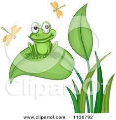 cartoon frogs   Cartoon Of A Cute Frog In A Lily Pad Pond - Royalty Free Vector ...