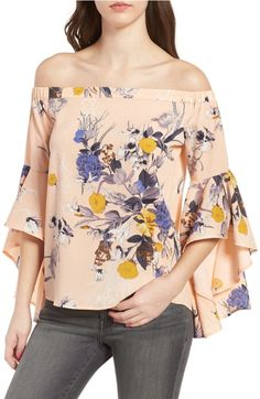 Main Image - Bell Sleeve Off the Shoulder Top Off Shoulder Blouse, Off The Shoulder, Style And Grace, My Style, Bell Sleeves, Bell Sleeve Top, Night Looks, All About Fashion, Summer Outfits