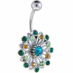 Peacock Jewel Flower Belly Button Ring Body Candy. $7.99. Save 72% Off!