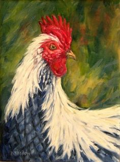 Country Blue Rooster Oil Rooster Pet Art Portraits Chicken Farm Animals, painting by artist Debra Sisson