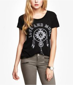 Express Scoop Neck Graphic Tee - Love And Music on shopstyle.com