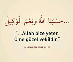 Allah bize yeter, O ne güzel vekildir.  [Al-i imran Suresi]  #aliimran #Allah #yeter #güzel #vekil #ayet #ayetler #dua #iman #islam #türkiye #ilmisuffa Duaa Islam, Allah Islam, Qoutes, Religion, Faith, Amen, How To Plan, Islamic, Quotes
