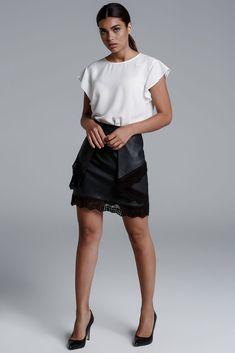 CKONTOVA folded leather look mini skirt because it´s on the details...Black
