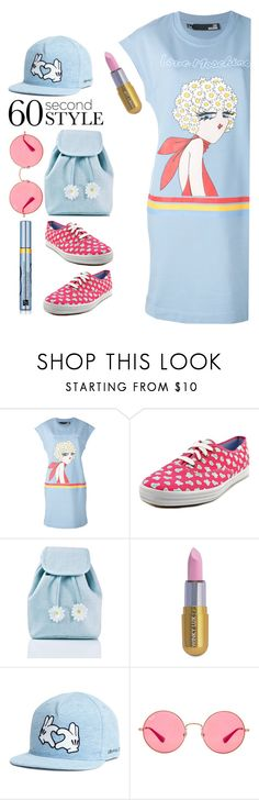"""60s sporty style"" by katymill ❤ liked on Polyvore featuring Love Moschino, Keds, Sugar Thrillz, Winky Lux, Ray-Ban, Estée Lauder, tshirtdresses and 60secondstyle"