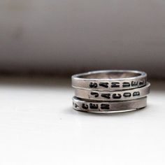 Hand Stamped Stacking Rings Personalized Mommy Jewelry by tinahdee, $90.00