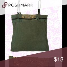 """Italian cami top, runs a bit small Made in Italy, olive green cami with decorative detail. Metallic thread embroidery, beads. 95% viscose/5% elastane. Adjustable velvet straps. Size """"large"""" measurements: body is 14"""" long, relaxed bust is approx. 30"""" Tops Camisoles"""