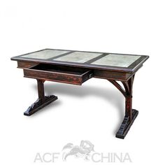 """The """"hammerbeam"""" is a type of roof truss and thats exactly what the supports on the underside of this desk are reminiscent of. Three stone inlay panels are inset in the top making for a nice work surface. Antique Chinese Furniture, Roof Trusses, Work Surface, Westminster, Collections, Desk, China, Type, Antiques"""