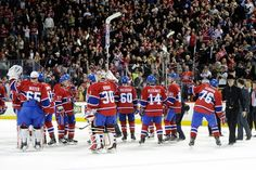 Montreal Canadiens salute Bell Centre fans after final game of 2011-12 season.