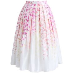 Chicwish Falling in Love with Petals Printed Midi Skirt (805 MXN) ❤ liked on Polyvore featuring skirts, pink, chicwish skirt, petal skirts, mid calf skirts, midi skirt and pink skirt