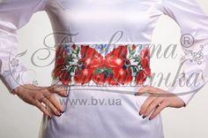 Атласный белый женский пояс ПС-041Б Маки красные