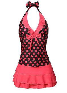 Coral Polka Dot Print Halter Tankini Top and Ruffle Layered Swim Skirt