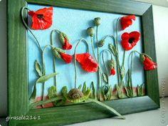 Картина панно рисунок Лепка МАКИ -Фарфор холодный Гипс Клей Фарфор холодный фото 1