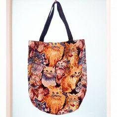 90s cat tapestry tote bag.