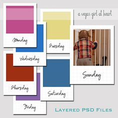 Free PSD days of the week inserts with photos for project life. For use with photoshop/pse