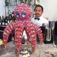 Tito serving up a martini for each tentacle #PinkyTheOctopus @chateaumarmot @chateaumarmontofficial #diamondsunleashed #comingsoon #lifestylesofthepinkandfamous