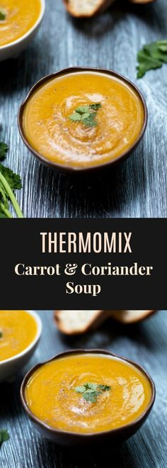 Carrot and Coriander Soup - a classic combination and is perfect for the cool Autumn change. Takes only 20 minutes to make in the Thermomix. via thermomix, Thermomix Carrot and Coriander Soup Carrot And Corriander Soup, Coriander Soup, Carrot And Coriander, Carrot Soup, Gourmet Recipes, Soup Recipes, Vegetarian Recipes, Healthy Recipes, Paleo Food