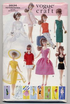 Barbie Doll Playsuit Baby Doll PJs Wedding Dress etc Vogue Pattern 639 Sewing Doll Clothes, Sewing Dolls, Doll Clothes Patterns, Clothing Patterns, Doll Patterns, Baby Doll Pajamas, Vintage Vogue Fashion, Vintage Outfits, Barbie Sewing Patterns