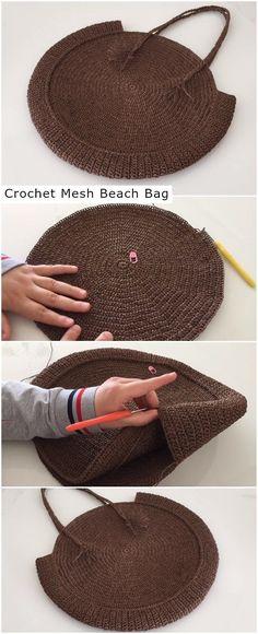 Crochet mesh beach bag crochet knitting tutorials and patterns crochet crochetideas crochetpatterns wrapping up in cardigans free crochet patterns Crochet Beach Bags, Bag Crochet, Crochet Baby Cocoon, Mode Crochet, Crochet Handbags, Crochet Purses, Crochet Yarn, Knitting Yarn, Crochet Clothes