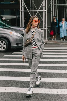plaid / check / suit / chunky shoes / fashion / style / street style / trending