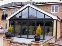 gable end kitchen extension Extension Veranda, Conservatory Extension, House Extension Plans, House Extension Design, Extension Designs, Glass Extension, Roof Extension, Extension Ideas, Bungalow Extensions