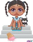 A cute lil doll with her kitty pixel-ed by me