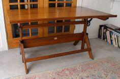 1950's HAMILTON anco built  SOLID OAK drafting TABLE maple top CAST IRON ex
