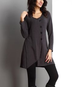 Love this Charcoal Button-Front Tunic by Reborn Collection on #zulily! #zulilyfinds