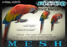 FLOOD Mesh Box FULL PERM Red Macaw Parrot1 0.5LI 1TF