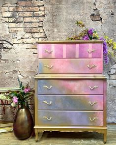 Bohemian Furniture, Country Furniture, Shabby Chic Furniture, Metallic Painted Furniture, Pink Dresser, French Country Style, Furniture Makeover, Furniture Ideas, Paper Decorations