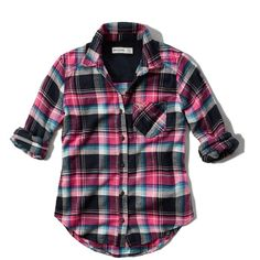 Abercrombie & Fitch girls plaid flannel pocket shirt ($30) ❤ liked on Polyvore featuring tops, shirts, 10. tops., turquoise plaid, tartan plaid shirt, embroidered logo shirts, tartan top, shirts & tops and flannel tops