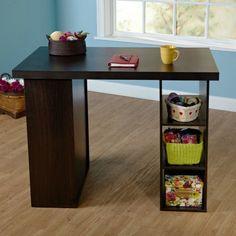 CraftTable Storage Organizer Sewing Station Shelves Art Counter Desk Work Brown #simpleliving #ArtsCraftsMissionStyle