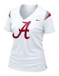 Alabama Crimson Tide Women s Nike White Football Replica Tee Crimson Tide  Football 4b9f2c0097