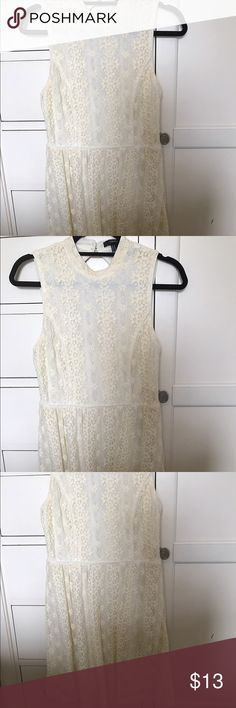 Off white lace dress Only worn once high neck lacey dress Forever 21 Dresses