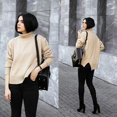Holynights Claudia - Sheinside Turtle Neck Sweater, Vipme Backpack, Locman Watch, Solewish Boots - Camel turtle neck
