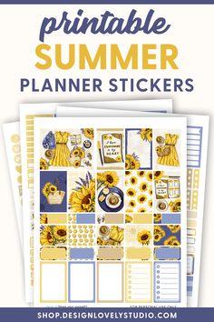 Summer Planner, Cute Planner, Weekly Planner Printable, Printable Planner Stickers, Happy Planner, Planner Layout, Printables, Erin Condren, Pdf