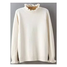 High Neck Fungus Edge White Sweater ($14) ❤ liked on Polyvore featuring tops, sweaters, white, long sleeve pullover sweater, loose turtleneck sweater, white long sleeve top, white turtleneck and high neck sweater