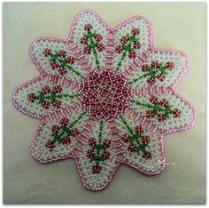 Discussion on LiveInternet - Russian Service Online Diaries Doily Patterns, Beading Patterns, Cross Stitch Patterns, Seed Bead Flowers, Beaded Flowers, Seed Beads, Crochet Bedspread Pattern, Beaded Crafts, Diy Crafts