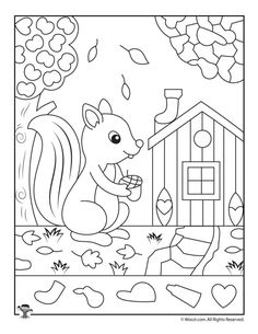 Cute Fall Squirrel Hidden Pictures Page | Woo! Jr. Kids Activities : Children's Publishing