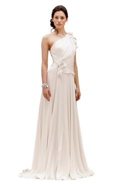 One-shoulder silk chiffon gown. Wow, this is gorgous! Perhaps if we ever renew our vows or if they have it in another color and I ever go to another military ball.