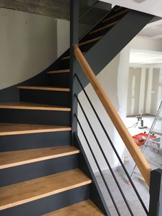 Home Decor > Stairs Interior Stairs, Home Interior Design, Painted Staircases, Hallway Inspiration, Staircase Makeover, Modern Stairs, House Stairs, Staircase Design, Home Remodeling